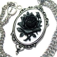 Black Rose White Cameo Necklac by Horribell-Originals