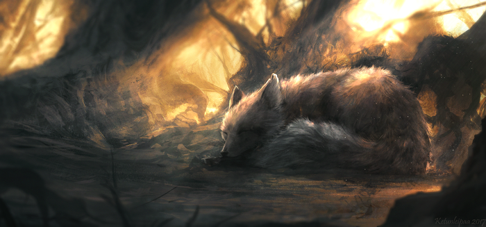 Sleeping fox by Ketunleipaa