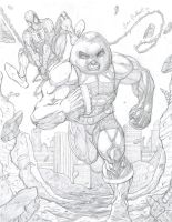 Juggernaut And Spidey Pencils by JHurlburt