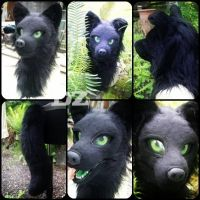 Brand New Pure Black Canine Mask + Tail For Sale by DexterousZombie