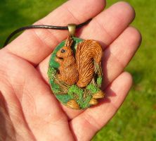 Little Squirrel - handsculpted 3D Pendant by Ganjamira