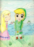 Toon Link and Zelda art trade by HPxZelda