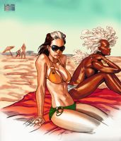 Rogue and Storm at the beach by RonAckins
