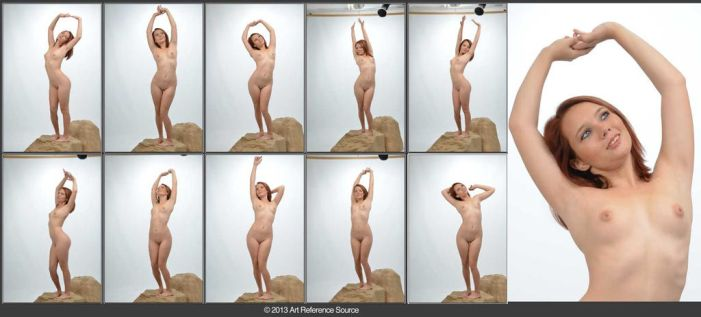Caitlynn 10 Nude Stretching Poses Stock by ArtReferenceSource