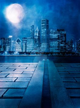 Blue Night City Premadebackground by DanielPriego