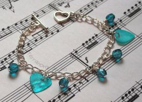 Teal blue and silver bracelet by TerraNovaJewels