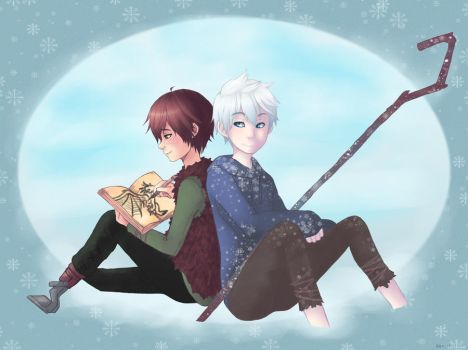 Jack Frost and Hiccup- Drawing with good company by AlexDasMaster