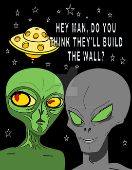 Alien Beings discuss the wall by tvcrazyman