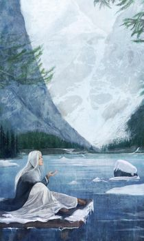 Woman in fjord by laura-csajagi