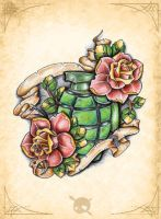 Grenade with roses by OnkelMaui