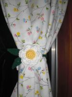 Crochet Curtain Tie-back Flower by RainKitty18