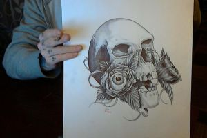 Skull with Roses with eyeballs - pen sketch by MickMog