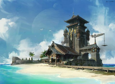 Beach and Chinese style architecture by FenghuaArt
