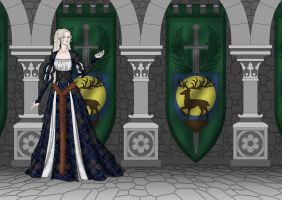 Castle Great Hall with Banners by Yagellonica