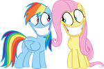 Rainbow Dash and Fluttershy: Creepy Faces by Ookami-95