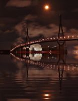 Hamburg Harbor Bridge at night by MichiLauke