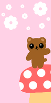 Free custom box background- mushroom bear by mochajelly