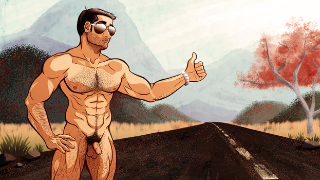 Nude Hitchhiker by saundersaur