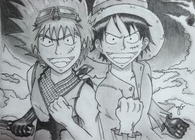 Luffy and Ricky Raven- One piece Character and OC by ShadowWolf-15