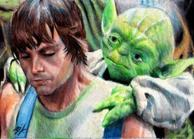 Luke and Yoda Sketch Card by Ethrendil