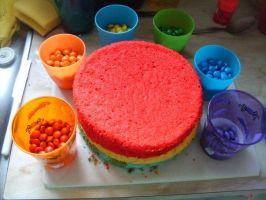Undecorated Rainbow Cake by Sakurakate