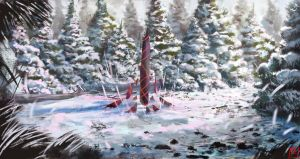 Snowy Forest Speedpaint by Solfour