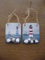 Lighthouse plaques with twine hangers by JadeMoonRabbit