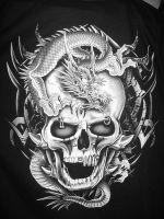 Dragon Skull - Black and White by Leggyboy
