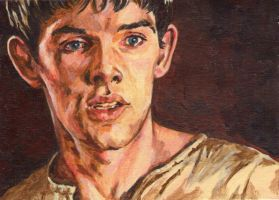 Paintings on a Postcard 4# Merlin by ObsidianSerpent