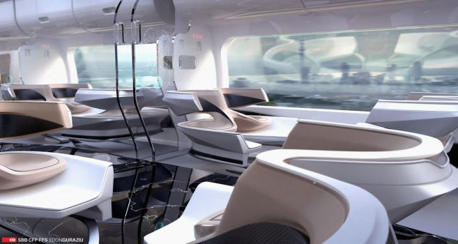 Futuristic Train Interior Design 2 by EdonGuraziu