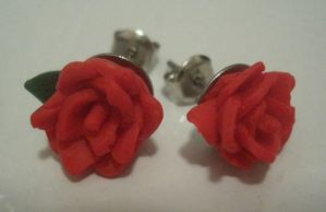 Rose earrings by estranged-illusions
