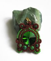 Fern Flower soutache pendant by Yenna-Savil