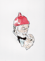 Steve Zissou, Ink and Watercolor Drawing Original by Kangas