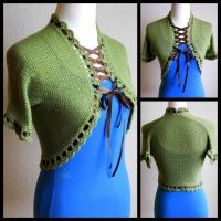 Green Lace Up Shrug Bolero by StrangeKnits