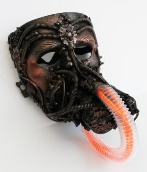 steampunk resporator mask with EL wire pipe by richardsymonsart