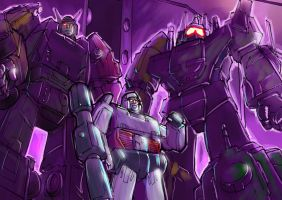 Megatron and his bodyguards by Optimus8404