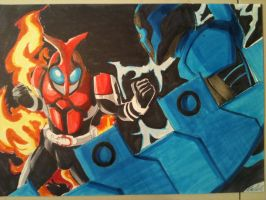 Kabuto v Blue Beetle by sidedash