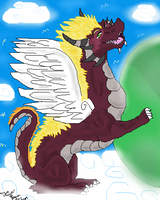 Dragon in the clouds by dragonrace