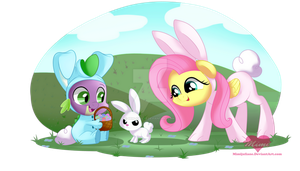 Spike,Angel and Fluttershy by mimijuliane