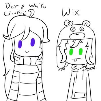 Derp waifu and Wix doodle by kookiekrummble