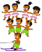 Apu's Octuplets Water Skiing by KidBobobo