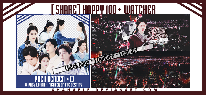 [SHARE] HAPPY 100+ WATCHER - RENDER + PSD + TEXTUR by xhangelf