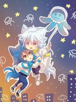-- DMMD: Chibi Aoba and Clear in the sky -- by Kurama-chan