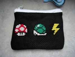 Cross stitched Mario Kart purse by Miloceane