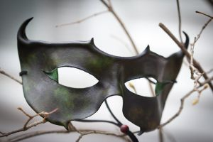 Black and Green Leather Mask by OsborneArts