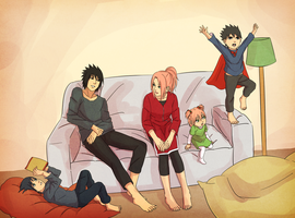 sasusaku family_2 by steampunkskulls