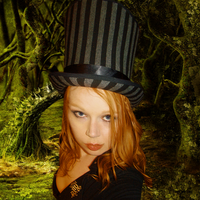 Gray and Black Striped Top Hat by SteamSociety