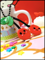 Happy Cherries Necklace by GrandmaThunderpants