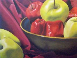 Apples with Blue Bowl by FluffyNabs