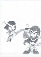 Tess vs Chase Young (uncolored) by XSreiki772